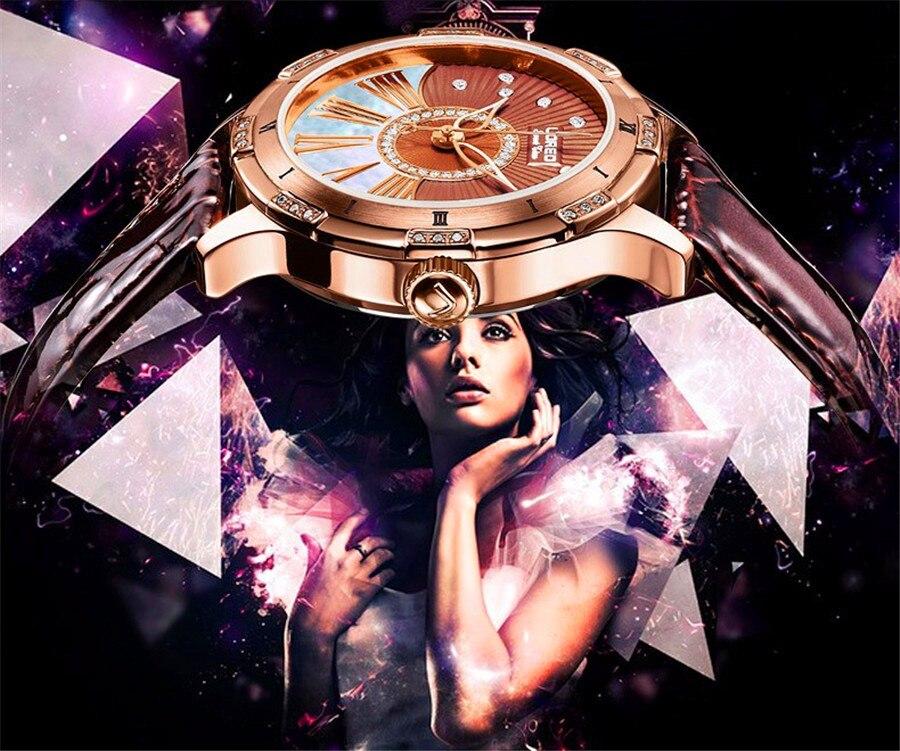 LOREO Mulheres Diamante Relógio Mecânico Design Top