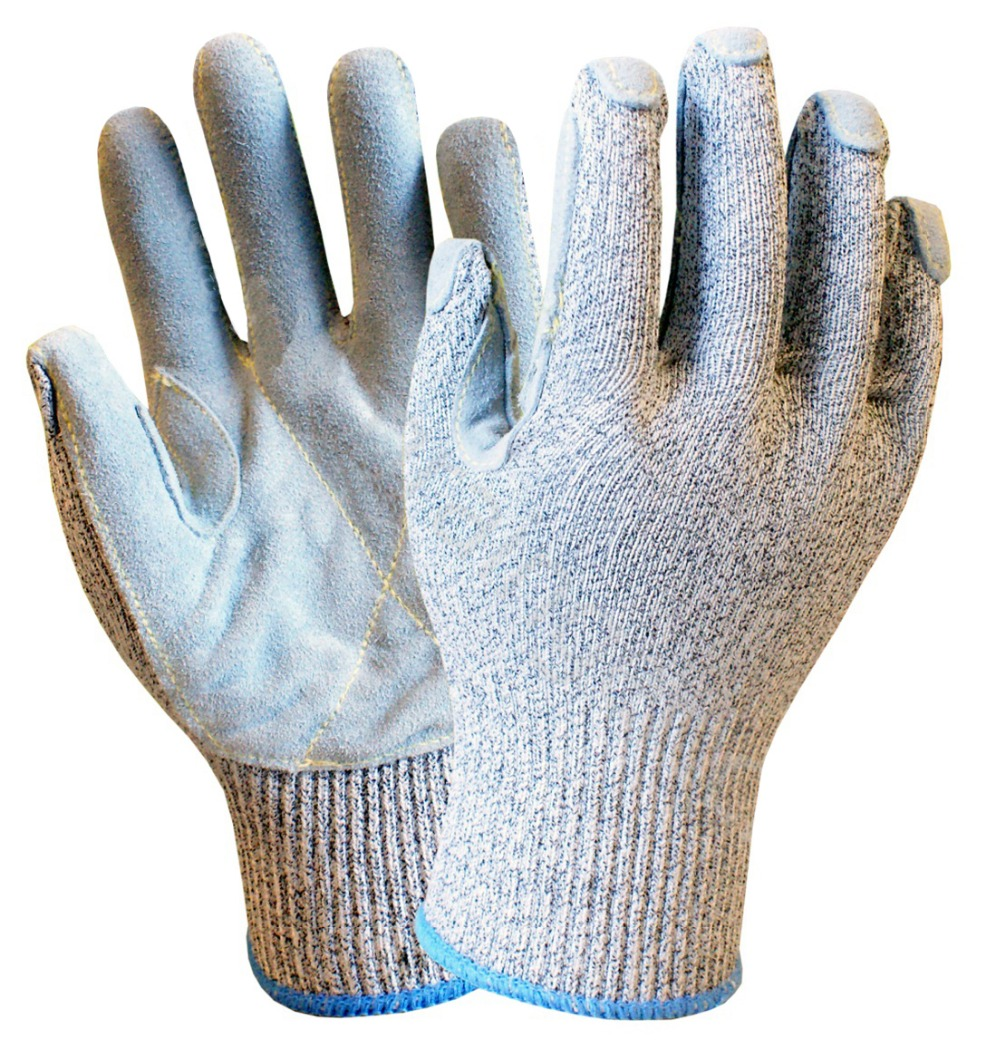 HPPE Anti-cut Working Glove 13 gauge HPPE Safety Glove Cow Split Leather Cut Resistant Work Glove