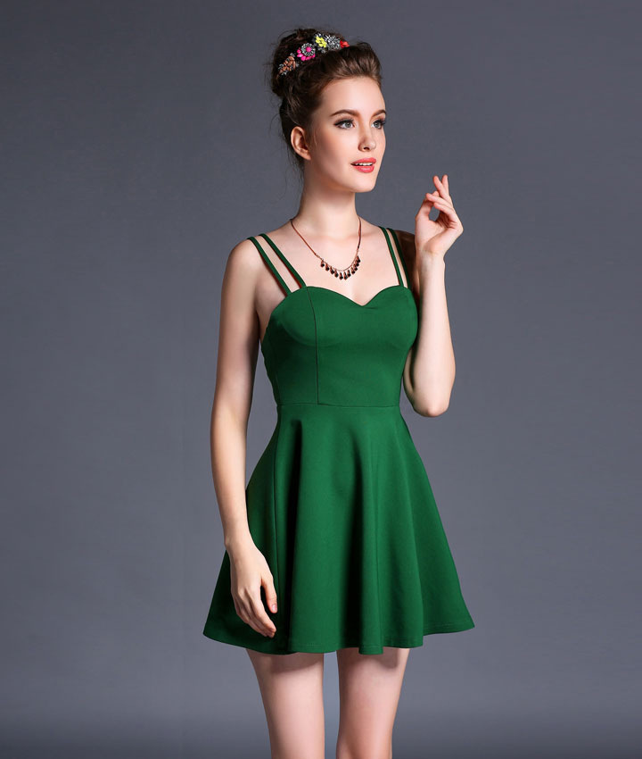 2016 women sexy summer dress green white black 3 color strapless backless mini dress vestidos