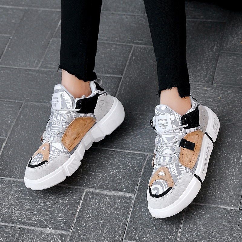 ADBOOV Nouveau 2019 baskets plates Femmes Hommes Taille 35-44 En Cuir + Toile Chunky Chaussures Chaussures Femme - 3