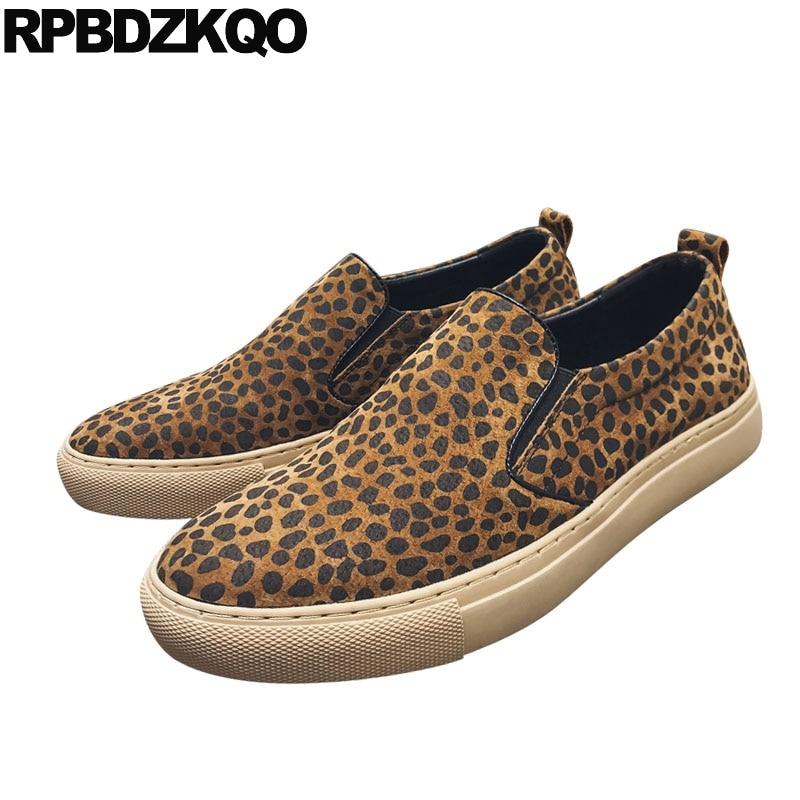 gray 2018 Leopard Primavera De Camurça Leopard Homens Elegantes Slip Sola Designer Populares Borracha ons Brown Skate Flats Conforto Moda Tênis Formadores Casuais Sapatos 1qxxd6YwRn