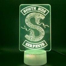 3D иллюзия Led Night Light Лампа Riverdale Подарок Змея Логотип Офис Декоративные Настольные Лампы