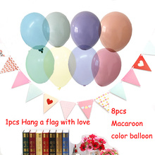 9PCS 10inch Macaroon Series Colorful Latex Balloons Flags Inflatable Kid Toy For Home Wedding Decoration Birthday Party Supply