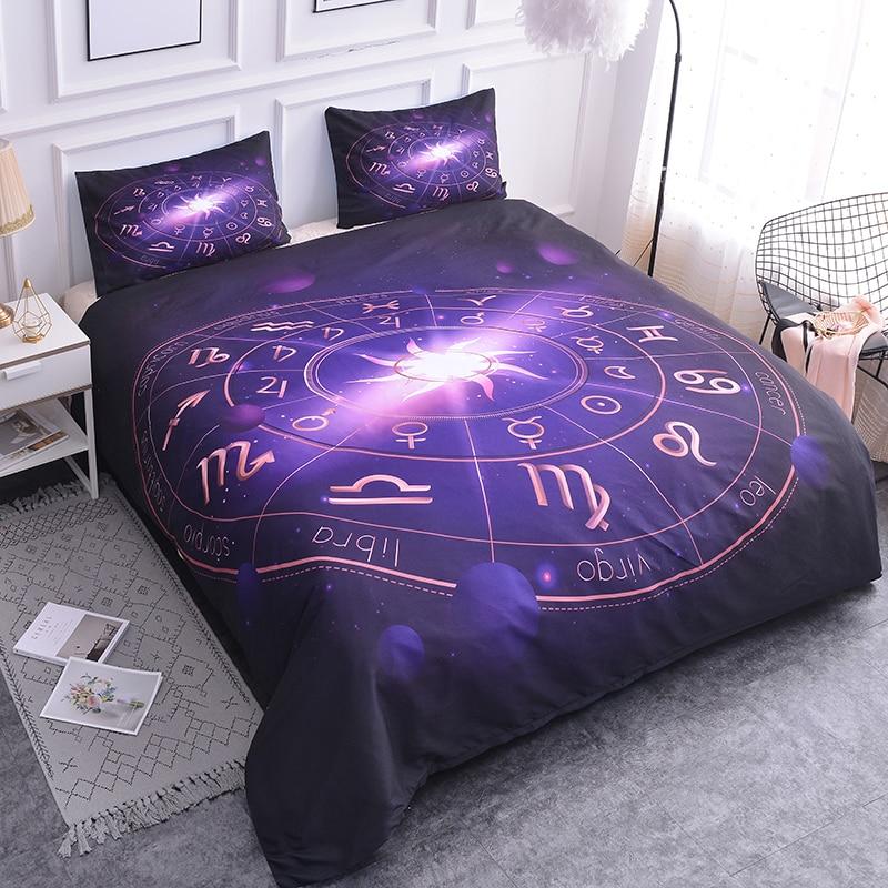 ZEIMON Comforter Polyester Twelve Constellations 3D Bedding Set Queen Purple Galaxy Stars Duvet Cover Pillowcase Bedclothes