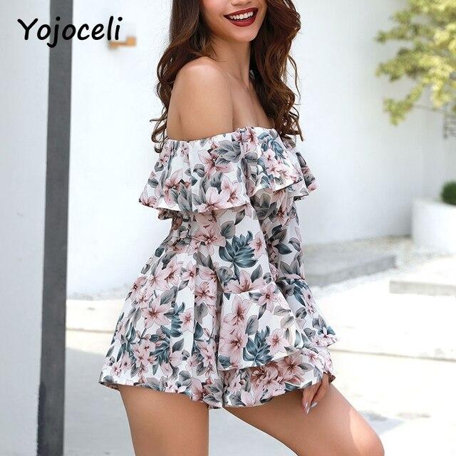 Yojoceli 2018 summer off shoulder floral print jumpsuit romper women flare sleeve bow beach playsuits 3