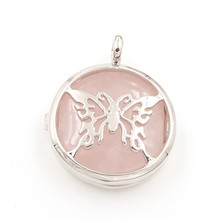 FYJS Unique Women Jewelry Silver Plated Locket Hollow Butterfly Natural Rose Pink Quartz Pendant