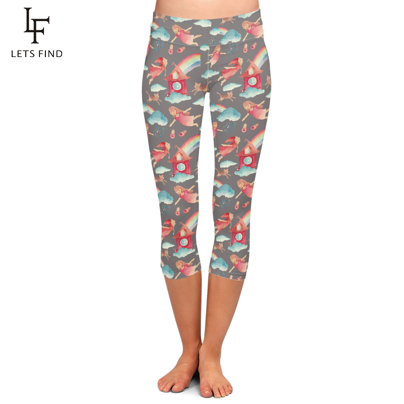 LETSFIND Fashion Summer Style Digital Printing Fitness Legggings High Waist Capri Pants Plus Size Mid-Calf 3/4 Casual Leggings