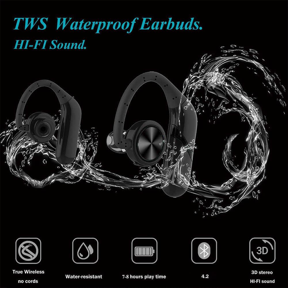 1 пара с крючком спортивные водонепроницаемые беспроводные наушники Встроенный микрофон стерео портативный мини-наушник громкой связи Водонепроницаемый Bluetooth 5,0