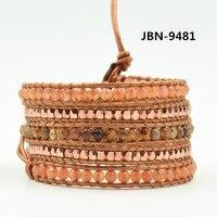 Новые Обертывание кожаные браслеты boho каменные и медные бусины браслет для модных женщин ювелирные изделия подарок партии JBN-9481