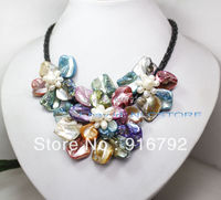 free shipping >>>>> pretty mix color mother of pearl shell weave flower necklace 18