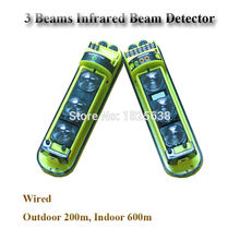 200 meter Outdoor Tripe Beam Passive Photoelectric Infrared Motion Sensor Auto alarm