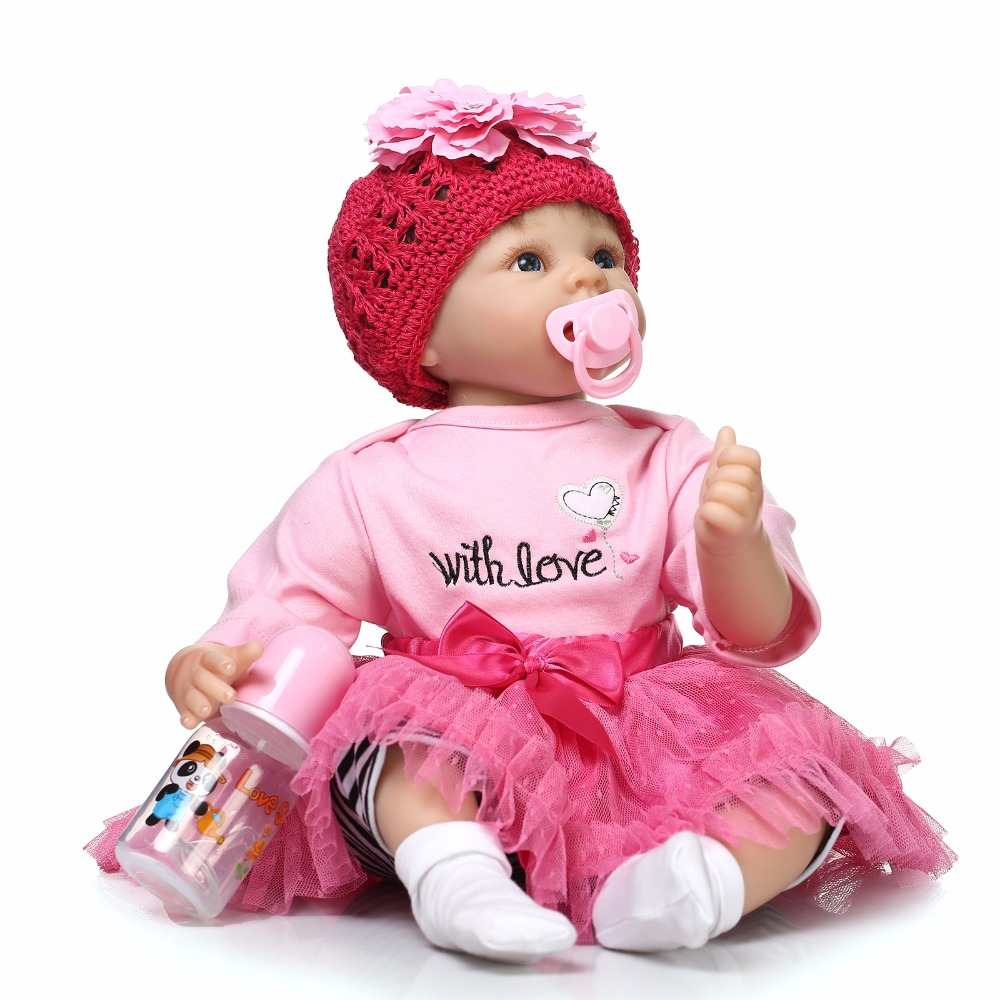Silicone Reborn Baby Doll Vinyl Lifelike Lovely Pink Princess Girl Brinquedos Gift for Child Interesting & Education Toys lifelike american 18 inches girl doll prices toy for children vinyl princess doll toys girl newest design