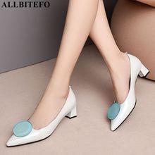 Allbitefo marca de moda completa couro genuíno dedo do pé apontado sapatos femininos sapatos de salto alto primavera escritório senhoras sapatos femininos salto alto