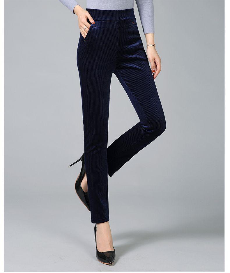 Women Elegant Striped Velvet Pants Slim Fit Corduroy Trousers Woman Red Green Black Blue Pant Bottoming Trouser Lady (9)