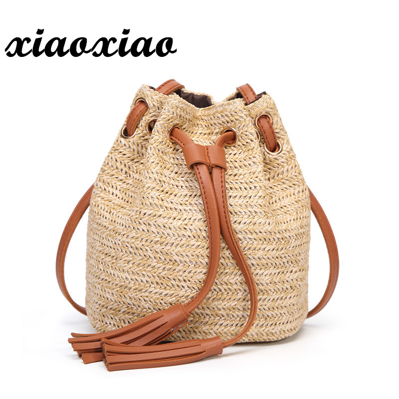 M.S Beach Solid String Mini Bucket Bags Female Summer Knitting Straw Bags Sweet Hot Casual Holiday Crossbody Bag Handbags SW061 ...