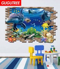 Decorate 60X90CM 3D dolphin sea world art wall sticker decoration Decals mural painting Removable Decor Wallpaper LF-131 все цены