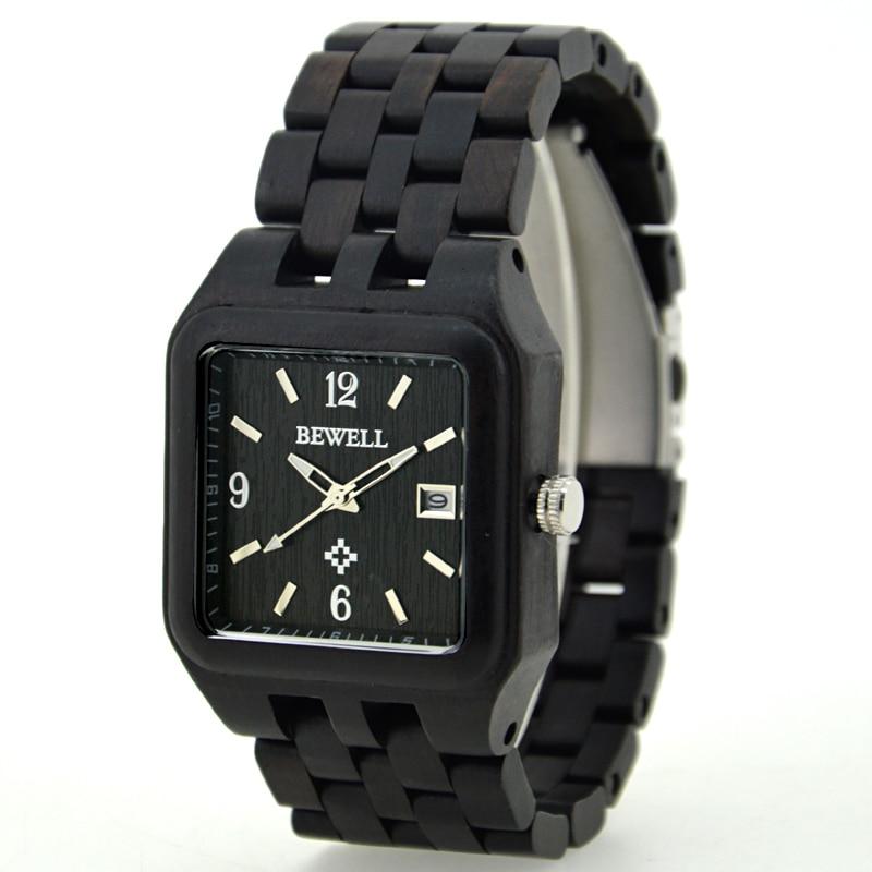где купить  BEWELL Wood Watch Black Clock Square Men Watch reloj hombre Quartz Movement Calendar Display Luxury Brand Wooden Wristwatch 111A  по лучшей цене