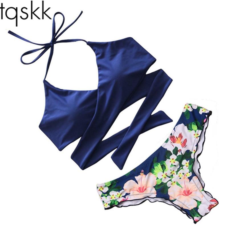 TQSKK 2017 Sexy Cross Brazilian Bikinis Women Swimsuit Bordered Swimwear Fall Floral Cross Criss Bikini Set
