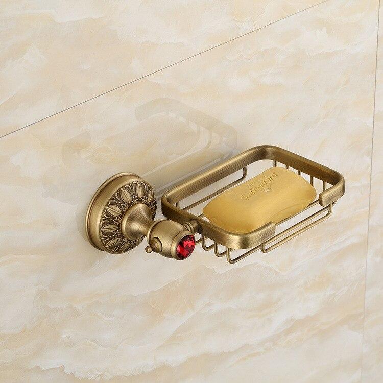 Antique Leaf Carved Bronze Soap Basket Wall Mounted red Crystal Soap net for Bathroom Accessories Home Decoration Soap holder