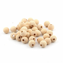 Small Wood Beads 50pcs 13x12mm Wood Color Beehive Wooden Beads for Jewelry Making DIY Teether Teething Beads Rattle
