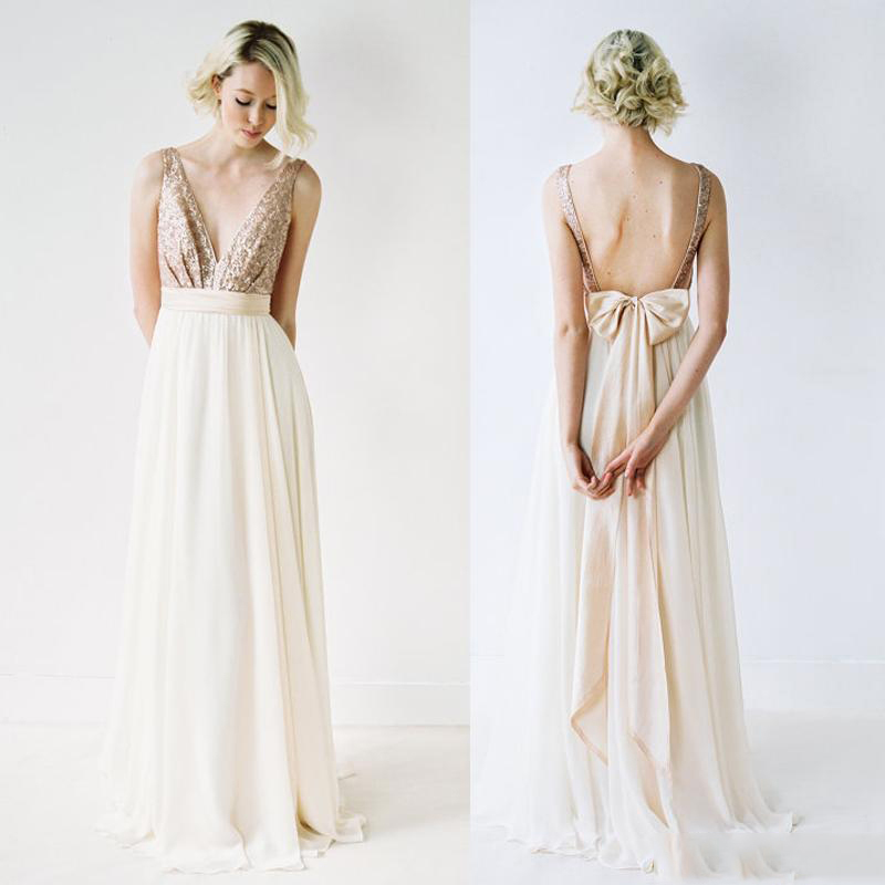 Sexy Backless Deep V Neck Bridesmaid Dress Sequined A Line Maid Of Honour At Wedding Formal Dress Bow Chiffon Bridesmaid Gown