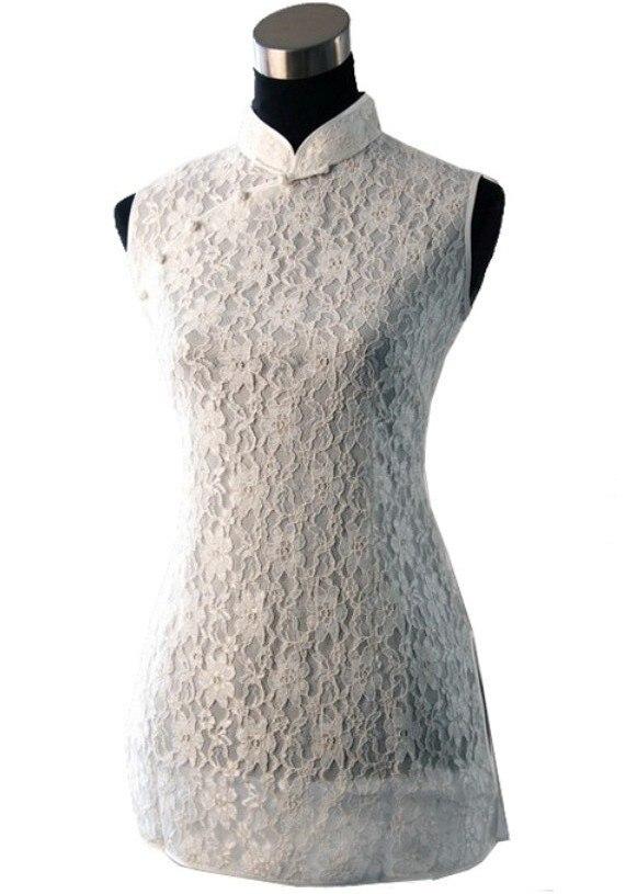 Blanco de la manera de las mujeres chinas de algodón clothing lace blusas tapas