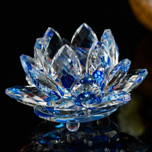 100mm Quartz Crystal Lotus Flower Crafts Glass Paperweight Fengshui Ornaments Figurines Home gardening  Party Decor Gifts Souven
