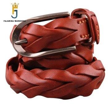 FAJARINA Ladies Fashion Design Pure Cow Skin Leather Belt Retro Styles Weave All-match Manual Cowhide Belts for Women N17FJ225 fajarina unisex fashion design high quality weave cow skin leather retro styles decorative all match cowhide belts n17fj142