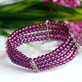 Natural Genuine Natural High Quality Top Grade Purple Garnet Arrange Stretch Perfect Bracelet Round Loose beads 04089