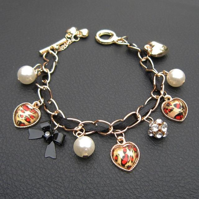 SX001 Charm Bracelet Bangles Gril's Love Leopard Imitation Pearls heart Bracelet Jewelry wholesale