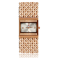 2017 New Hot Sell Women Bracelet Watches Fashion Lady Gift Rose Gold Rhinestone Designer Top Luxury