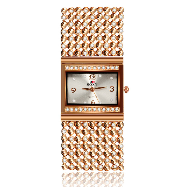 2018 New Hot Sell Women Bracelet Watches Fashion Lady Gift Rose Gold Rhinestone