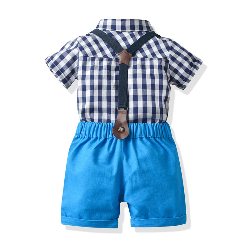 2pcs Toddler Boys Clothing Cotton Casual Shorts Shirts Plaid Pants Party Outfits