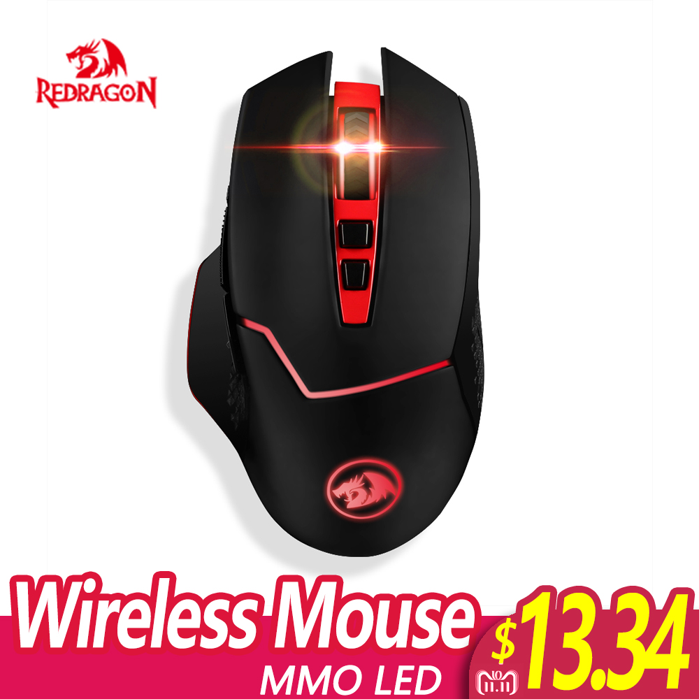 Redragon Professional Wireless Gaming Mouse 8 Buttons Mice for MMO Pro Gamers PC Computer Laptop redragon berserk pro 64209