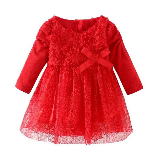 2017 НОВАЯ мода новорожденных девочек dress princess девушки красный цвет пачки dress младенческой новорожденных девочек весна осень dress