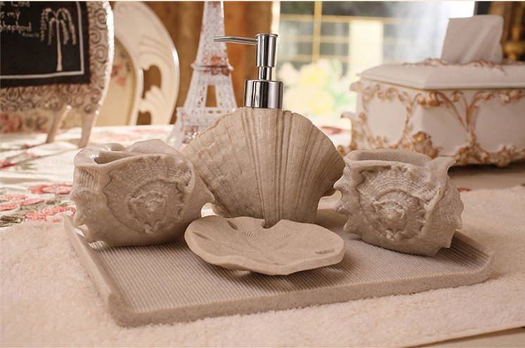 Nuevo 5 unids/set Resina Shell Creativa Baño Establece Accesorios de Baño Produc
