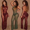 fashion skinny style womens night party sexy see-through sleeveless print jumpsuits one piece backless bandage bodysuit AT101