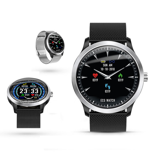 2019N58 High end ECG PPG Smart Watch with Electrocardiograph Ecg Display Holter Ecg Heart Rate Monitor Blood Pressure Smartwatch