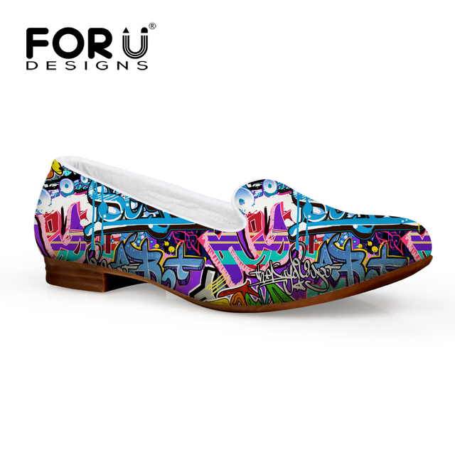 Personality Flat Heel Shoes Women Hip-hop Graffiti Printing Leisure Slip On For Girls Flexible Breathable Ladies Sapato Feminino