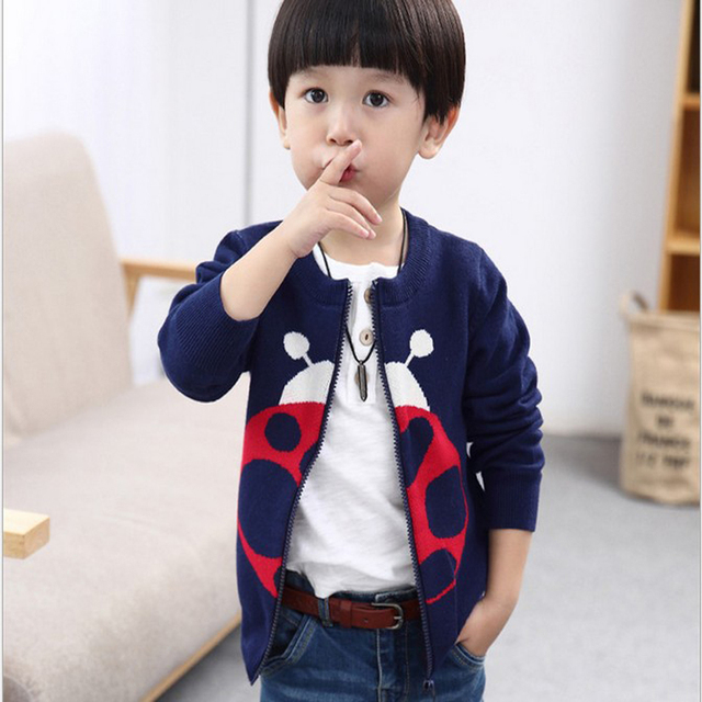 Новый 2016 Детей свитер 100% хлопок свитер детская мода и красивый кардиган для utumn/зима младенческой ребенка Мультфильма верхняя одежда