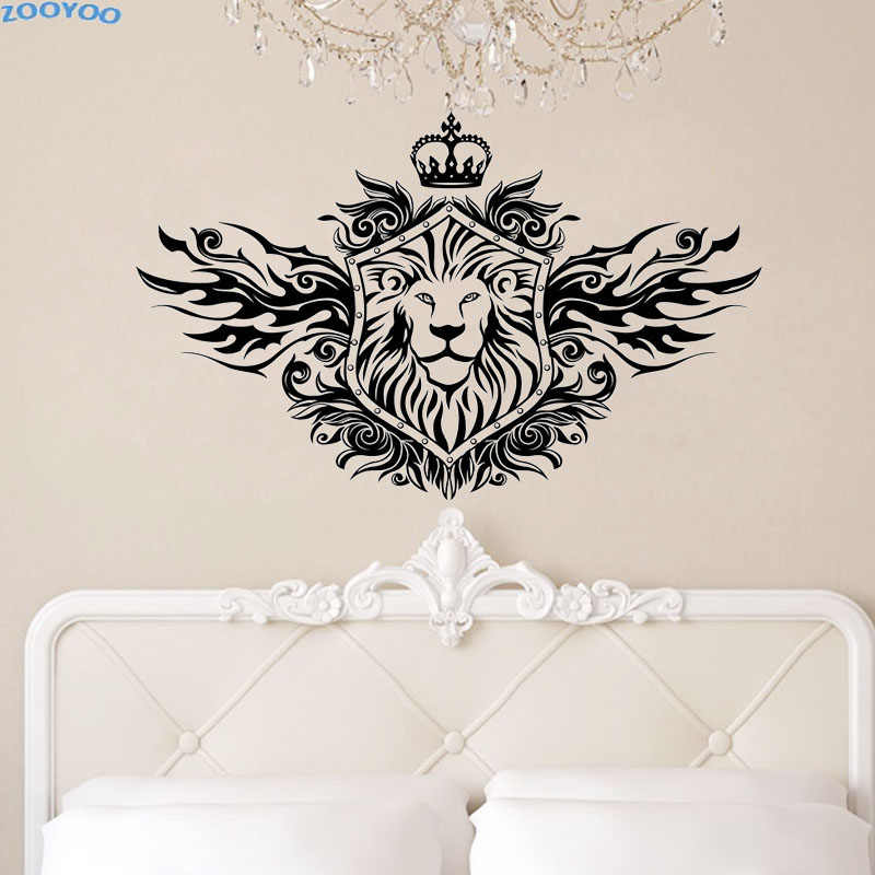 ZOOYOO Crown Lion Shield Wall Sticker Fashionable Home Decor Removable Living Room Wall Decals Bedroom Decoration