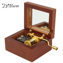 """KiWarm Vintage Square Hand Crank Music Box Gifts """"Castle in the Sky"""" Musical Movement Ornament Decor Craft"""