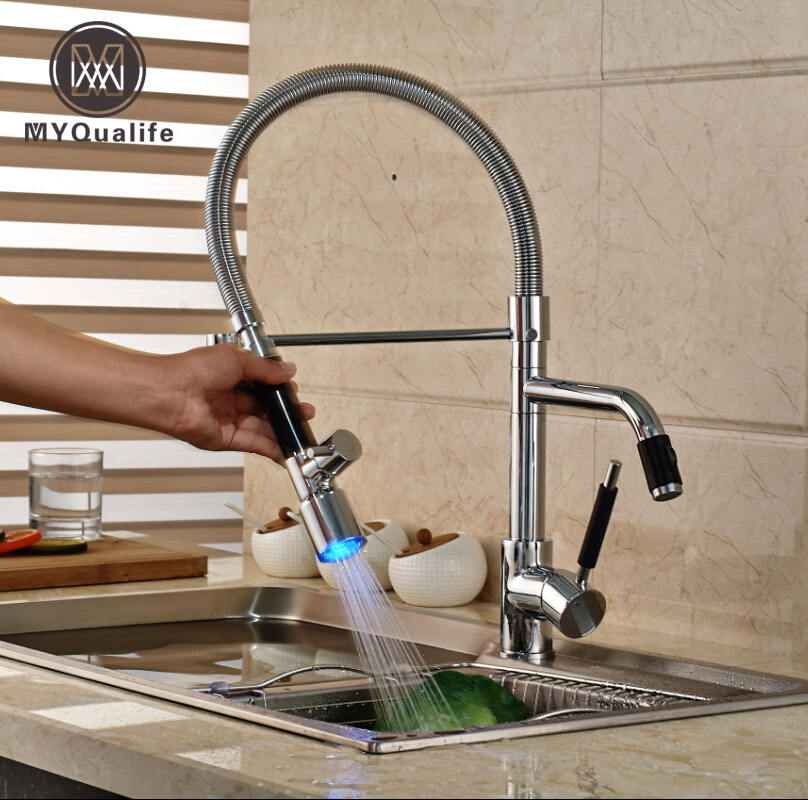 Luxury Pull Out Spring Hands Free Kitchen Mixer Faucet Deck Mount Single Lever LED Light Kitchen