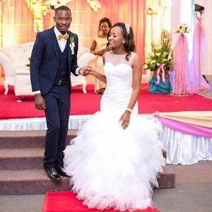 Image 2 - Fansmile 2020 新アフリカティアードマーメイドウェディングドレスフルビーズ花嫁衣装のウェディングドレスプラスサイズカスタマイズ FSM 595M