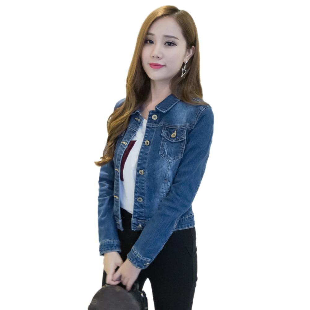 HTB1nTXUaHr1gK0jSZR0q6zP8XXaU Women Short Jeans Jacket Slim Turn Down Collar Long Sleeve Button Denim Outwear New Chic Vintage