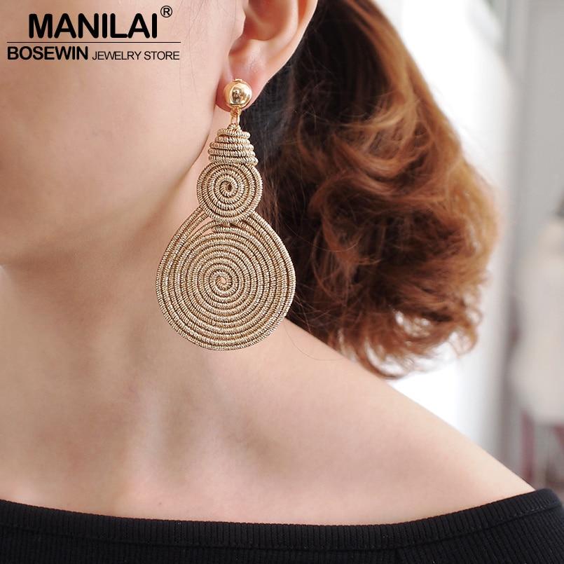 MANILAI Bohemian Alloy Spiral Round Statement Earrings Women Vintage Metal Drop Dangle Earrings Fashion Jewelry Wholesale 2020