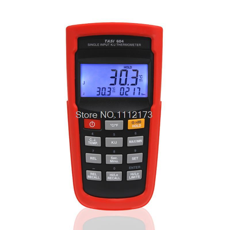 Free shipping TASI-604 LCD single input K/J type Probe Thermocouple Single channel Thermocouple Thermometer with Pouch bag
