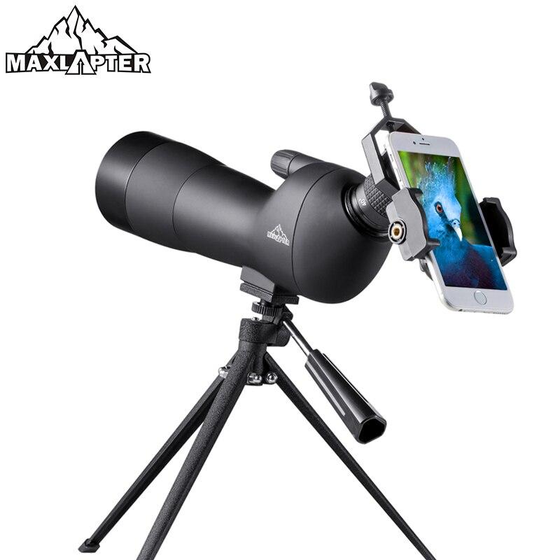 20-60x longue-vue avec trépied pour l'observation des oiseaux Zoom télescope chasse monoculaire étanche azote téléphone adaptateur MAXLAPTER