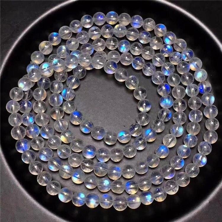 5 มม. ธรรมชาติ Moonstone สร้อยข้อมือผู้หญิง Lady ไฟสีฟ้า Healing หินหินธรรมชาติ 108 ลูกปัดสร้อยข้อมือ AAAAA-ใน สร้อยข้อมือและกำไล จาก อัญมณีและเครื่องประดับ บน   2