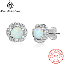925 Sterling Silver Opal Earrings Women Flower Stud Earrings with Cubic Zirconia Silver 925 Jewelry Gift for Girls(Lam Hub Fong) modian genuine silver earrings for women 925 sterling silver stud earrings silver 925 with colorful fantastic jewelry